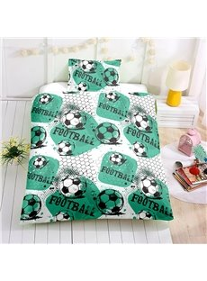 Soccer Printed Green 4-Piece Bedding Sets/Duvet Cover