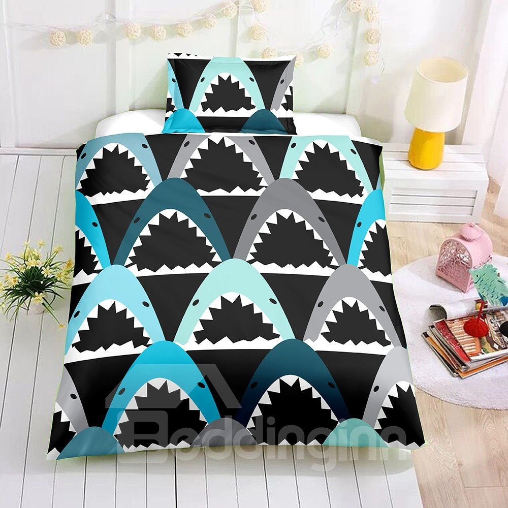 Shark Mouth Printed Black 2PC/3PC Bedding Sets/Duvet Covers