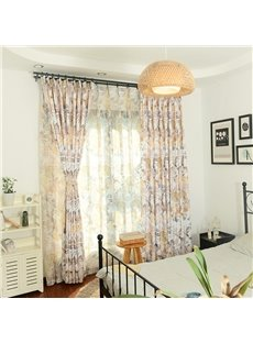 Light Floral on Linen Natural Style Bedroom Curtain