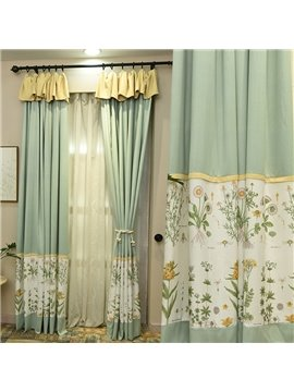 Simple Design Lignt Green Natural Style Curtain for Bedroom