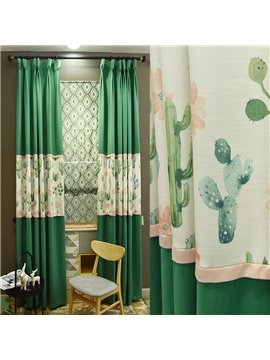 Green Plants and Leaves Pattern Natural Style Curtain for Bedroom