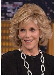 Jane Fonda Hairstyle Wavy 12 Inches Layered Synthetic Hair Capless Wigs