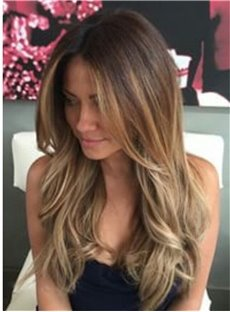 Sexy Long Wavy 22 Inches Layered Human Hair Women Lace Front Wig