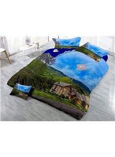Green Tree and House Printed Blue Sky Cotton 4-Piece 3D Bedding Sets/Duvet Covers