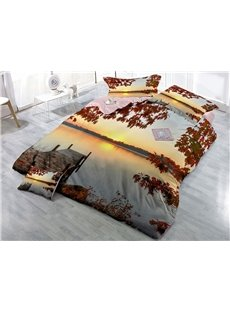 Bridge and Lake Maple Leaves Printed Sunset Cotton 4-Piece 3D Bedding Sets/Duvet Covers