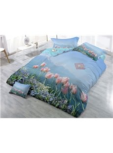 Pink and Purple Floral Printed Cotton 4-Piece 3D Bedding Sets/Duvet Covers