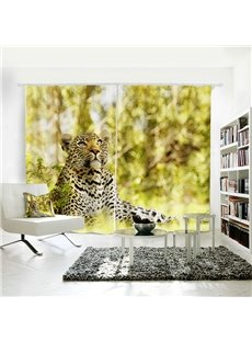 3D Printed Vivid Leopard Pattern Polyester Curtain