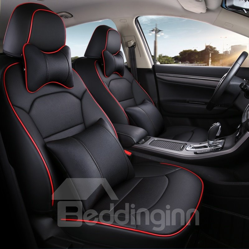 Pu Leather Stripe Patterns Busines Fit Car Seat Covers Pic