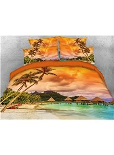 Tropical_Island_with_The_Palm_Trees_and_Clear_Sea_Printed_4Piece_3D_Bedding_SetsDuvet_Covers