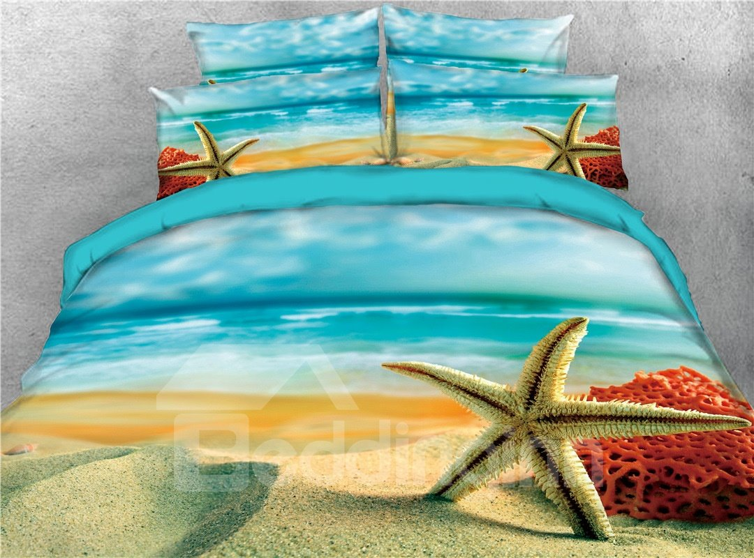 Summer Sea Starfish Seashells Beach 4-Piece 3D Coastal Scenery Bedding Sets