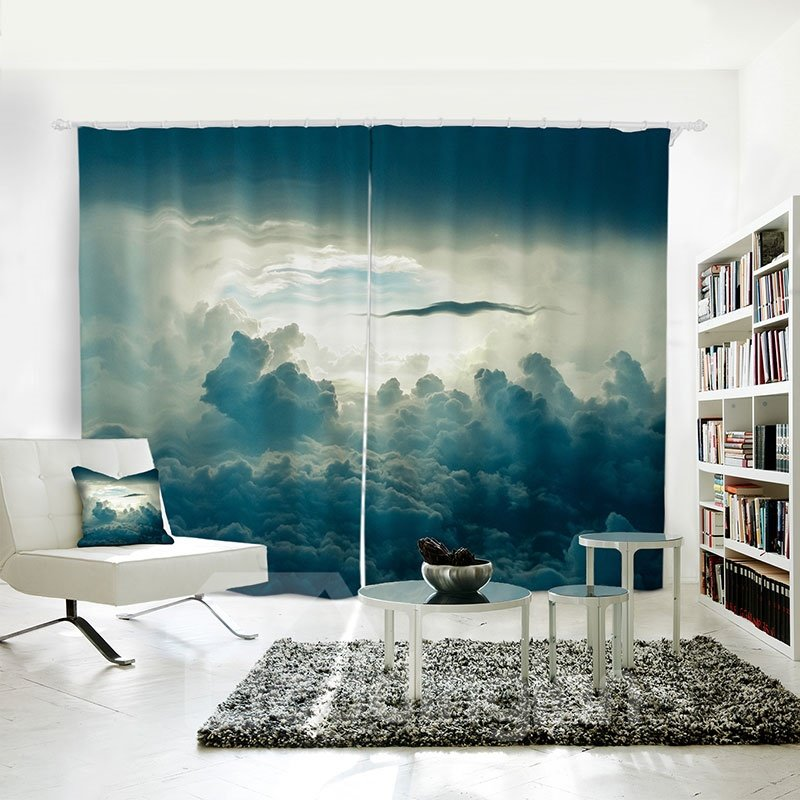 Thick Clouds Blue Sky Pattern 3d Polyester Curtain Pic