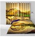 Sunset and Lake Trees Pattern 3D Polyester Curtain