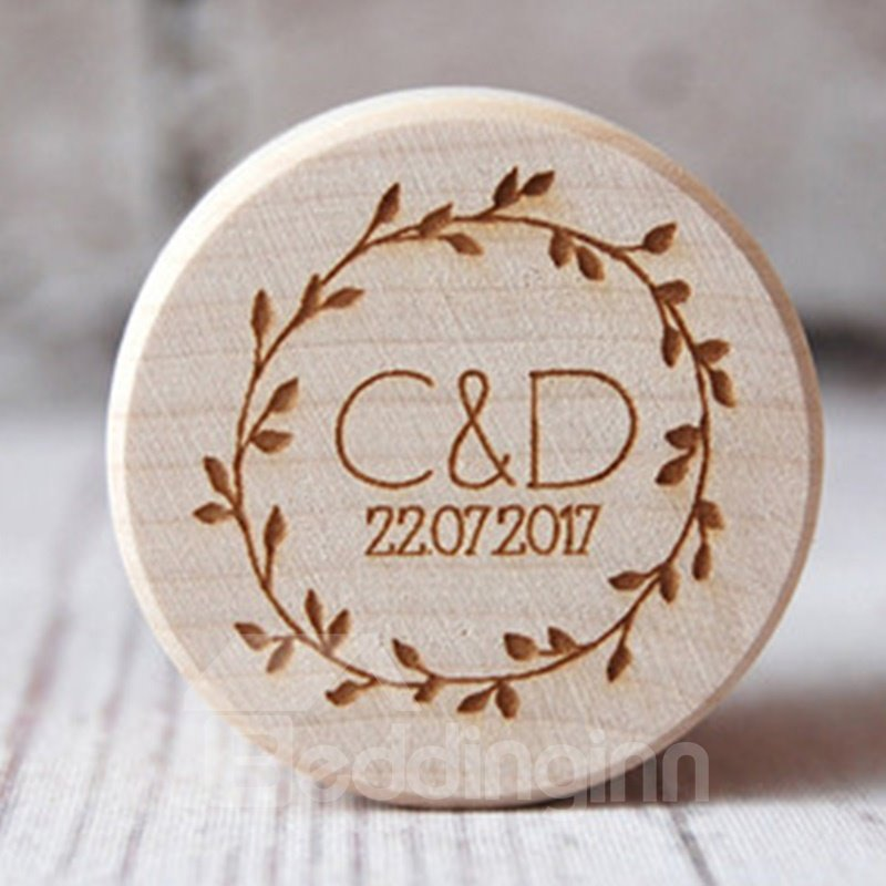 Handmade Wooden Round Personalized Engraved Engagement Ring Bearer Box