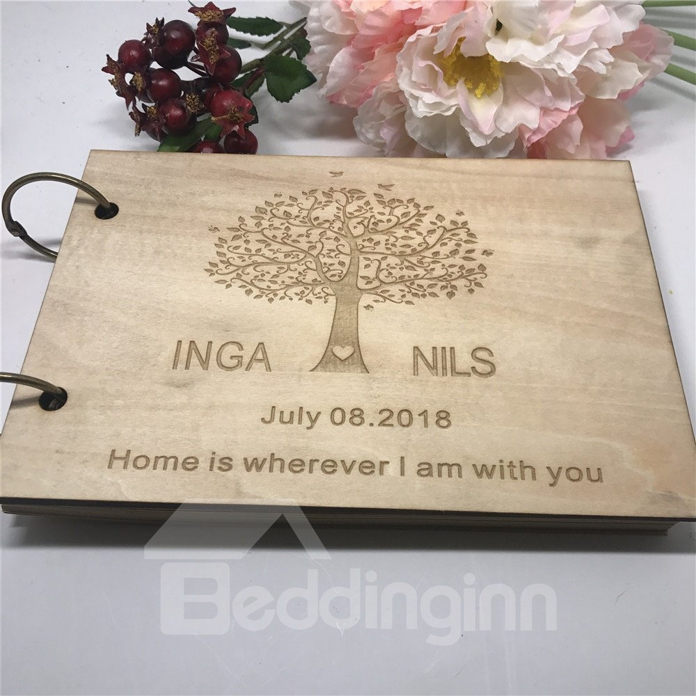 Custom Name & Date Infinite Love Wooden Personalized Wedding Guest Book