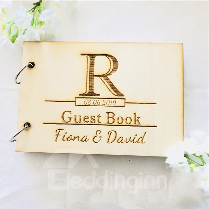 Personalized Wooden Rustic Vintage Wedding Guest Book