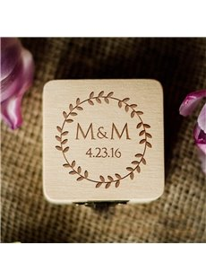 Personalized Wedding Rustic Wood Ring Holder Box