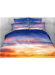 Sunset and Sunlight Reflection Sky Clouds Printed 4-Piece 3D Bedding Sets/Duvet Covers