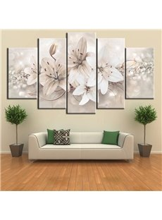 Abstract Flower Pattern 5 Pieces Hanging Canvas Waterproof Eco-friendly Framed Wall Prints