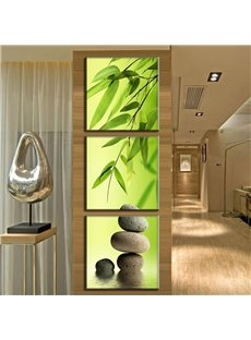 Bamboo Leaves Pattern 3 Pieces Hanging Canvas Waterproof Eco-friendly Framed Wall Prints