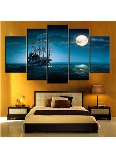 Moon Sea Boat Pattern 5 Pieces Hanging Canvas Waterproof Eco-friendly Framed Wall Prints