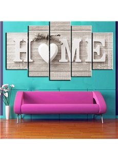 HOME Pattern 5 Pieces Hanging Canvas Waterproof Eco-friendly Framed Wall Prints
