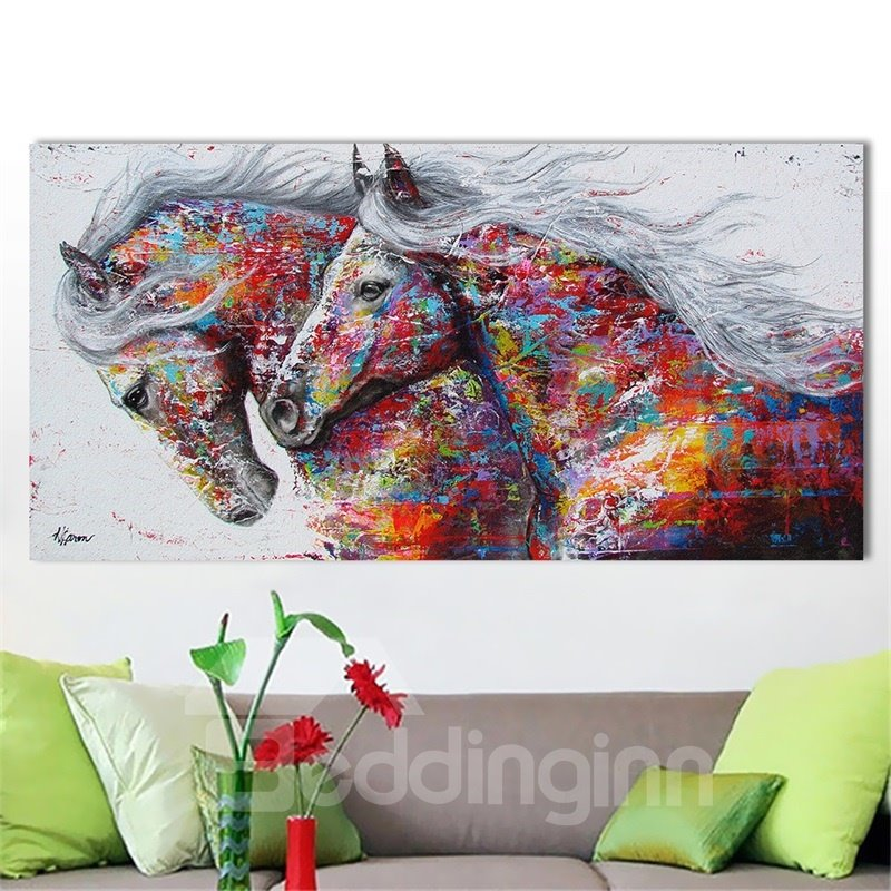 Wall Art World Colored Horse Painting Home Decor