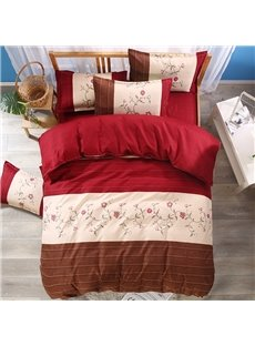 Floral Pattern and Stripes Style Red Polyester 3-Piece Bedding Sets/Duvet Cover