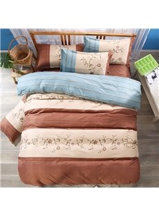 Green and Coffee Stripes Pattern and Floral Printed Polyester 3-Piece Bedding Sets/Duvet Cover