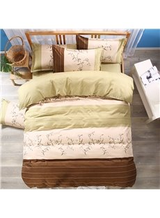 Elegant Flower Printed and Geometric Pattern Polyester 3-Piece Bedding Sets/Duvet Cover