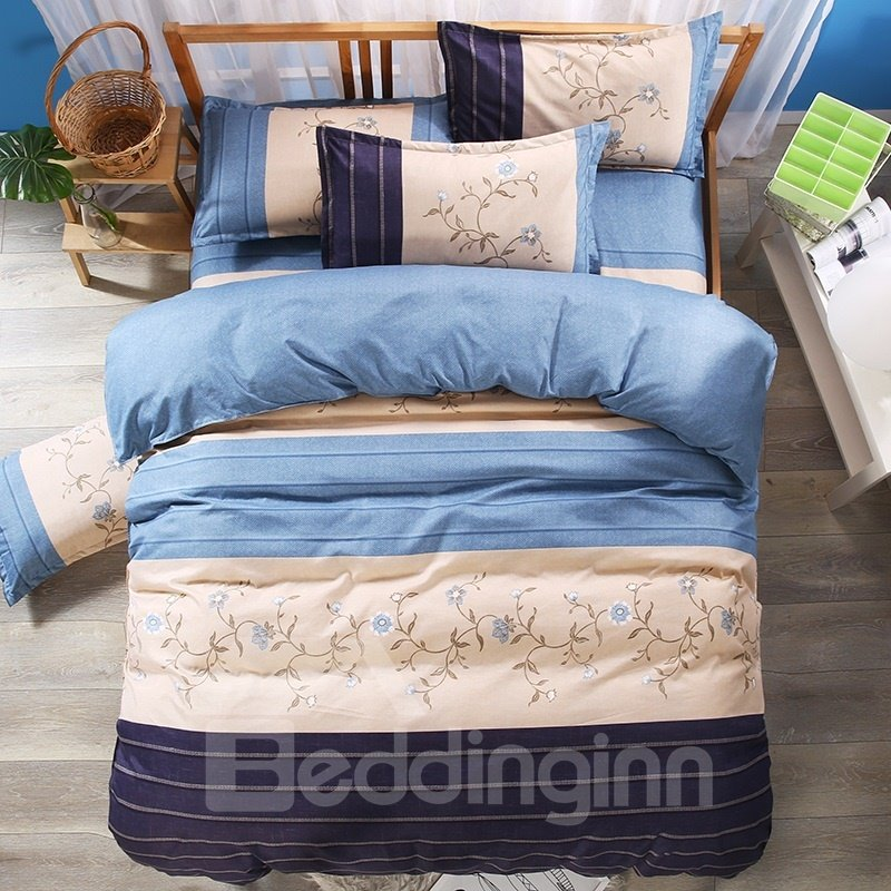 Floral and Geometric Pattern Blue Polyester 3-Piece Bedding Sets/Duvet Covers