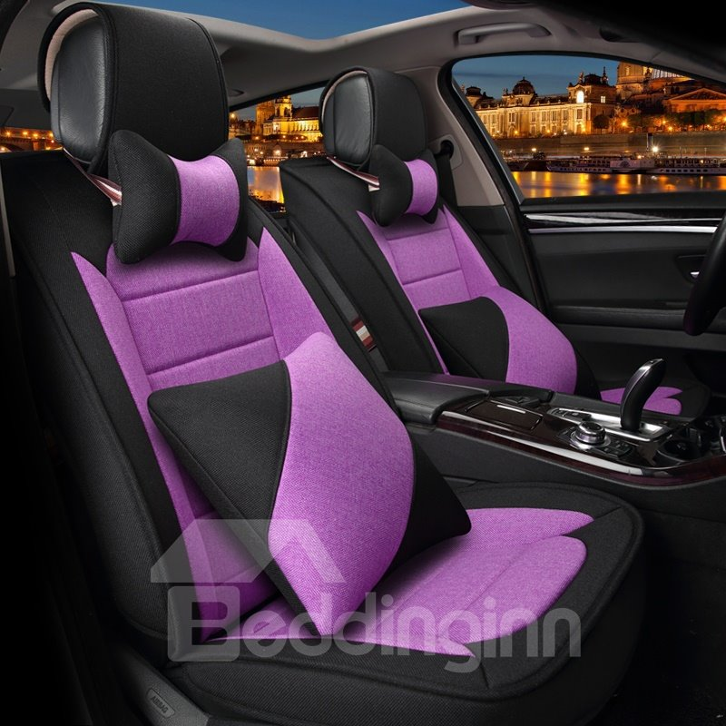 Color Blocking Double Layer Design Custom Leather Car Seat Covers