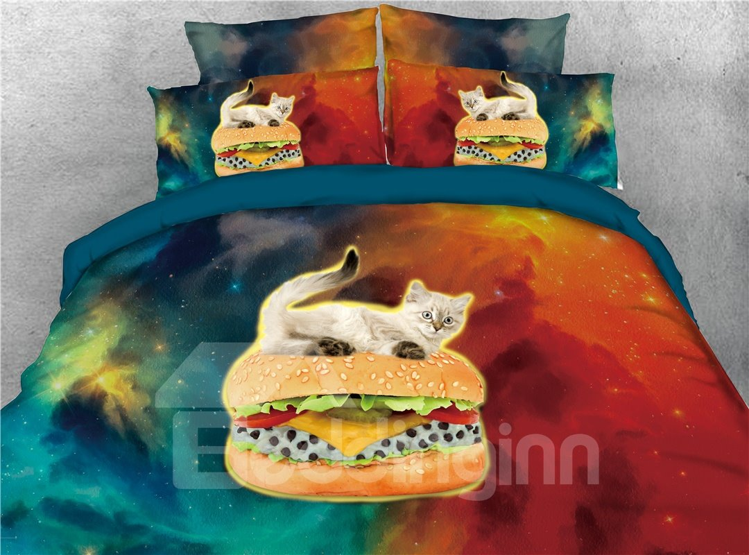White Cat Riding Hamburger Galaxy Printed 4-Piece 3D Bedding Sets/Duvet Covers