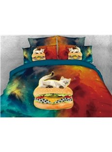 White Cat Riding Hamburger Galaxy Printed 4-Piece 3D Bedding Sets/Duvet Covers
