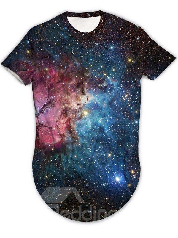 Modern Round Neck Blue Galaxy Pattern 3D Painted T-Shirt