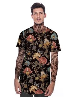 Modern Round Neck Colored Flowers Pattern 3D Painted T-Shirt