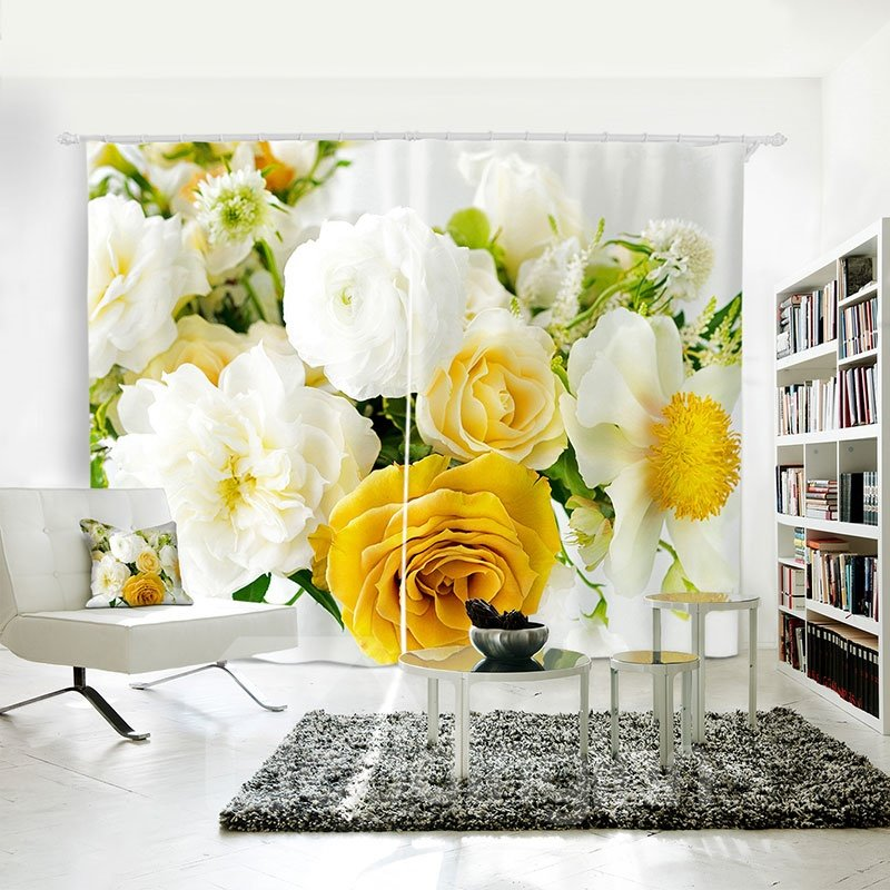 3D Romantic Refreshing Roses Printed Curtain for Dining/ Living Room