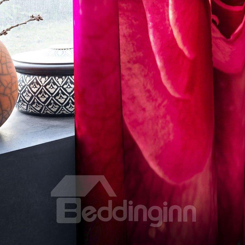 3D Fresh Red Rose Romantic Printed Polyester Custom Grommet Top Curtain for Living Room