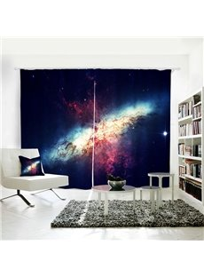 3D Polyester Shiny Galaxies Pattern Printed Curtain
