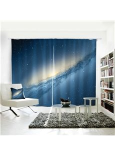 3D Shining Space Galaxy Pattern Printed Curtain