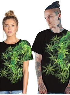 Modern Round Neck Green Mint Leaf Pattern 3D Painted T-Shirt