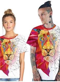 Modern Round Neck Lion Pattern 3D Painted T-Shirt