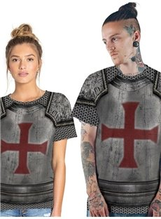 Modern Round Neck Cross Pattern War Suit 3D Painted T-Shirt