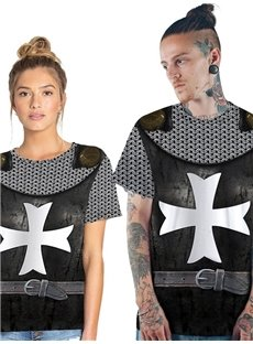 Modern Round Neck War Suit with Cross and Belt 3D Painted T-Shirt