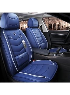 Leather Material Pure Color With Bright Lines Design Truck Seat Covers