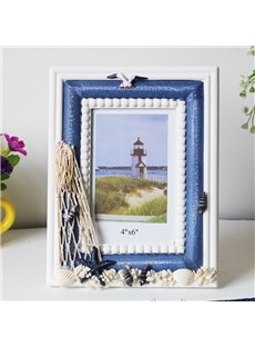 6/7 Inch Creative-Designed Wooden Vintage Tabletop Photo Frame(Blue and white)