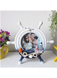 Irregular Creative Manual Round Wooden Desktop Photo Frame