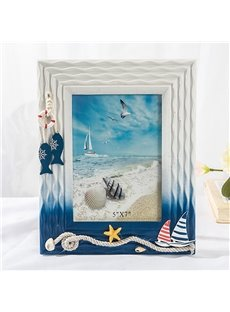6/7 Inch Fresh Sea Wind Wooden Photo Frame (Blue and White )