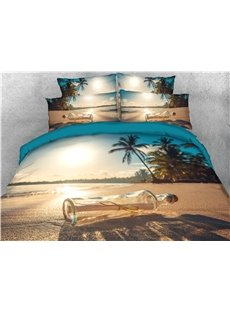 Beach Sunlight and Drift Bottle Printed 4-Piece 3D Bedding Sets/Duvet Covers