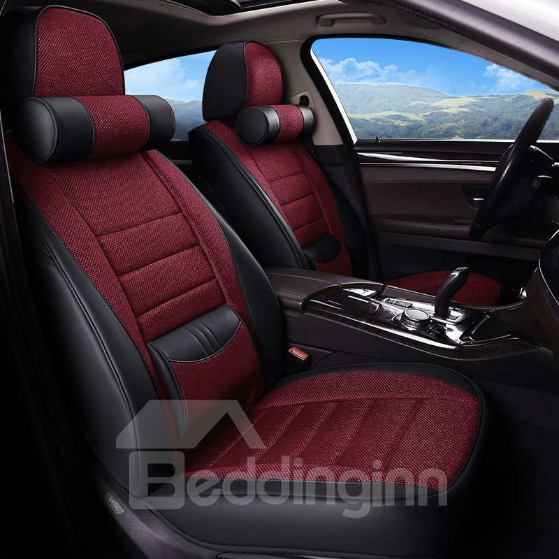 Linen&PU Material Color Blocking Skillful Manufacture Universal Car Seat Covers