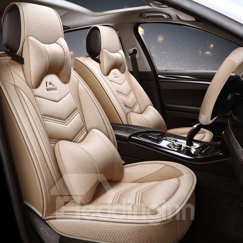 Sports Linen All Seasons Stripe Pattern Universal Car Seat Cover Pic